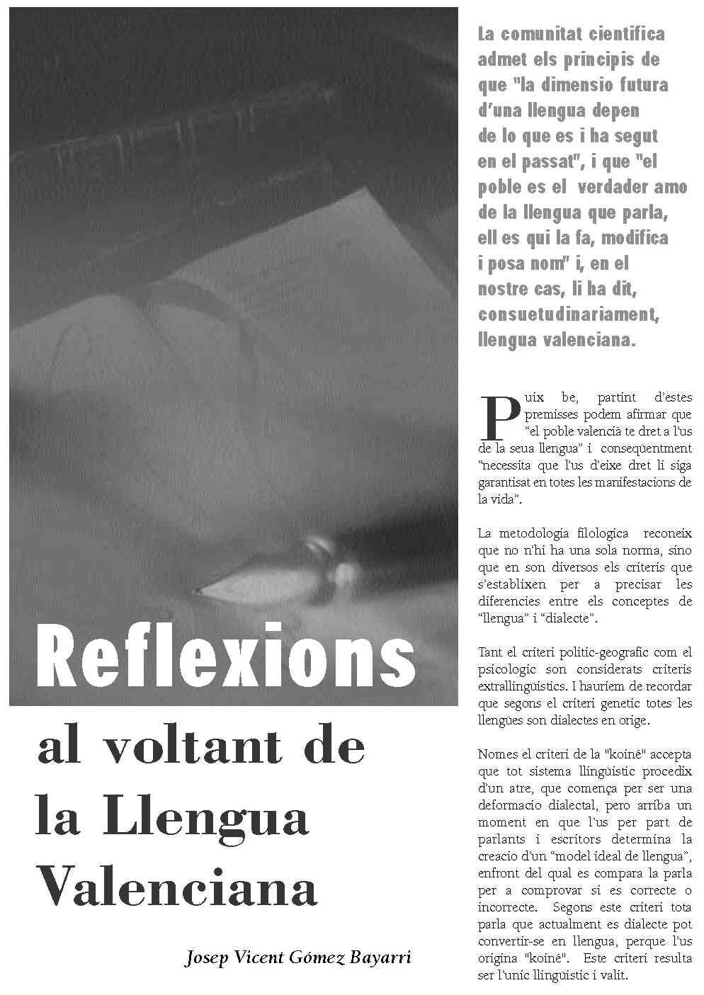 Reflexions al voltant de la Llengua Valenciana